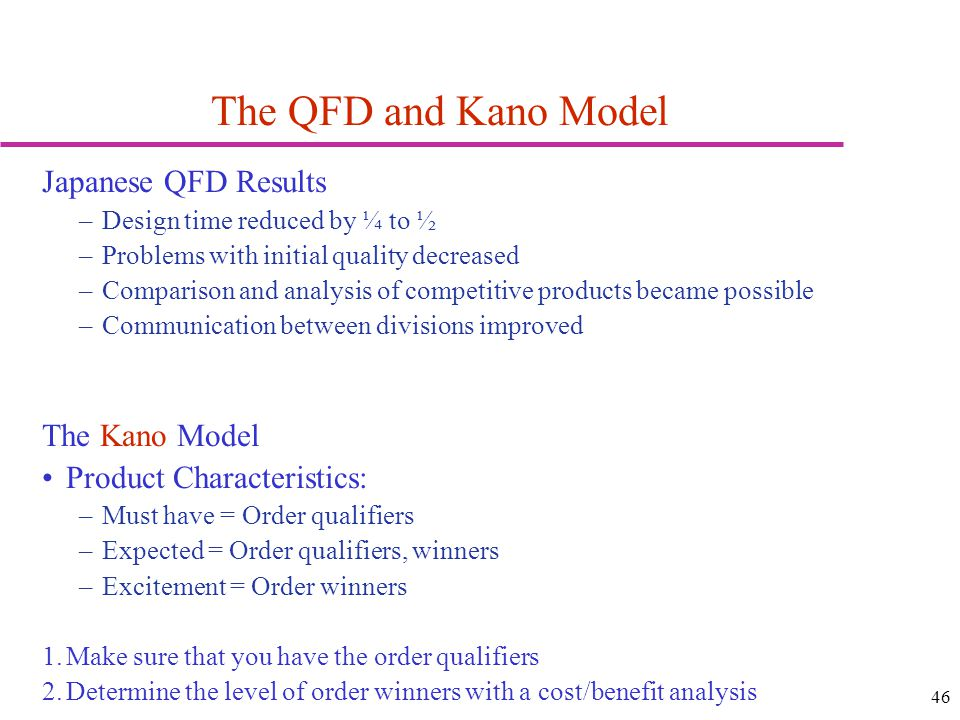 46 The QFD and Kano Model Japanese QFD Results –Design time reduced by ¼ to ½ –Problems with initial quality decreased –Comparison and analysis of com