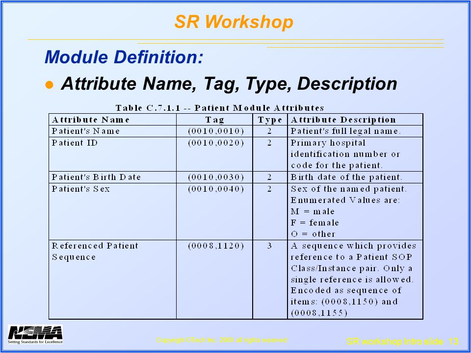 SR workshop Intro slide 13 SR Workshop Copyright OTech Inc.