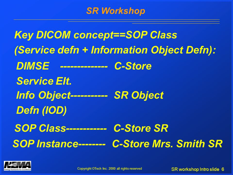 SR workshop Intro slide 6 SR Workshop Copyright OTech Inc.
