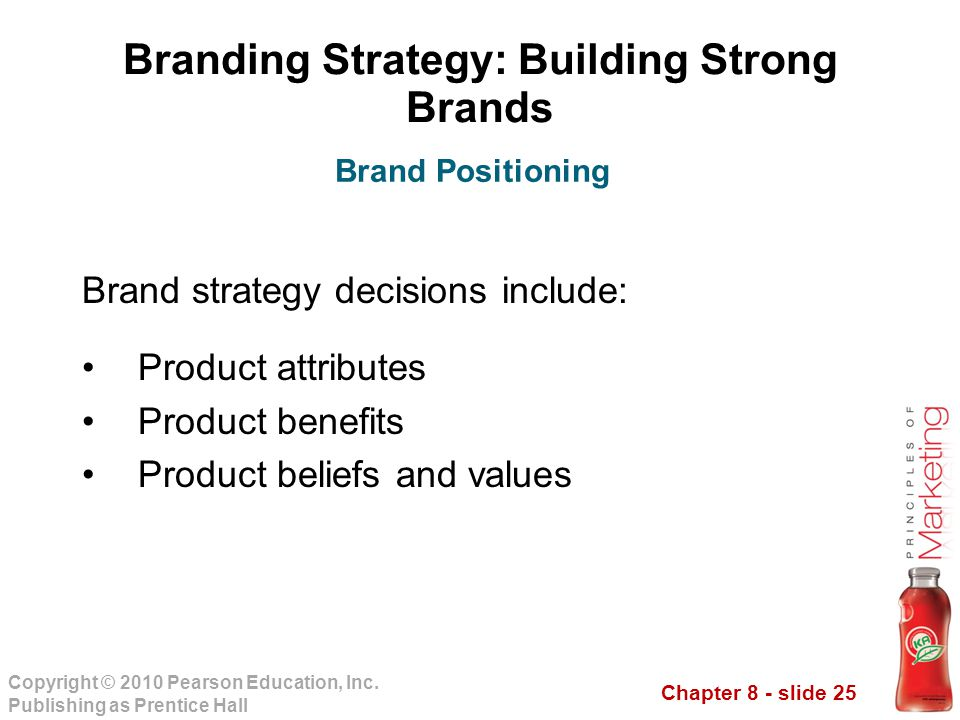 Chapter 8 - slide 25 Copyright © 2010 Pearson Education, Inc. Publishing as Prentice Hall Branding Strategy: Building Strong Brands Brand strategy dec