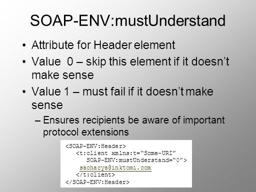 Attribute for Header element Value 0 – skip this element if it doesnt make sense Value 1 – must fail if it doesnt make sense –Ensures recipients be aw