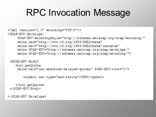 RPC Invocation Message <SOAP-ENV:Envelope SOAP-ENV:encodingStyle=