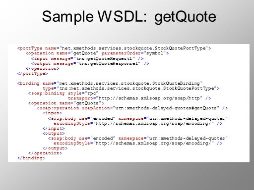 Sample WSDL: getQuote <binding name=