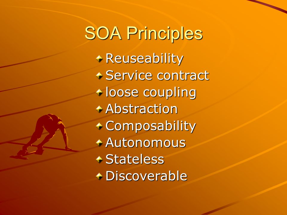 SOA Principles Reuseability Service contract loose coupling AbstractionComposabilityAutonomousStatelessDiscoverable