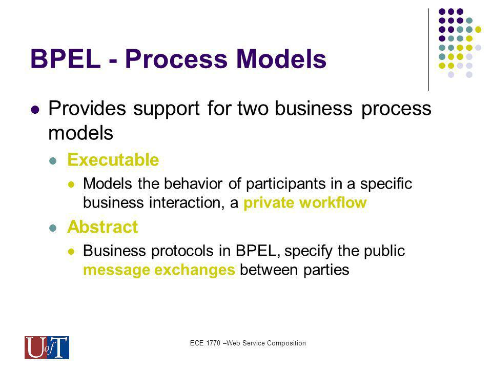 ECE 1770 –Web Service Composition BPEL - Process Models Provides support for two business process models Executable Models the behavior of participants in a specific business interaction, a private workflow Abstract Business protocols in BPEL, specify the public message exchanges between parties