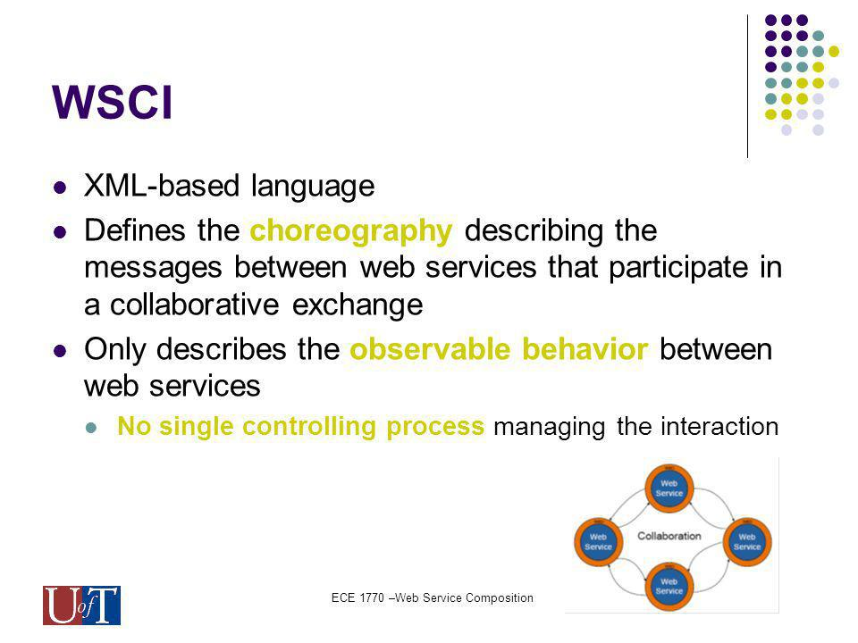 ECE 1770 –Web Service Composition WSCI XML-based language Defines the choreography describing the messages between web services that participate in a collaborative exchange Only describes the observable behavior between web services No single controlling process managing the interaction
