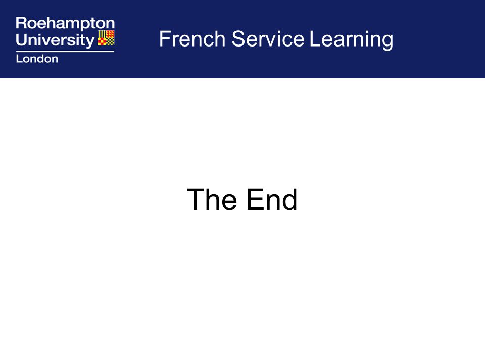 French Service Learning The End