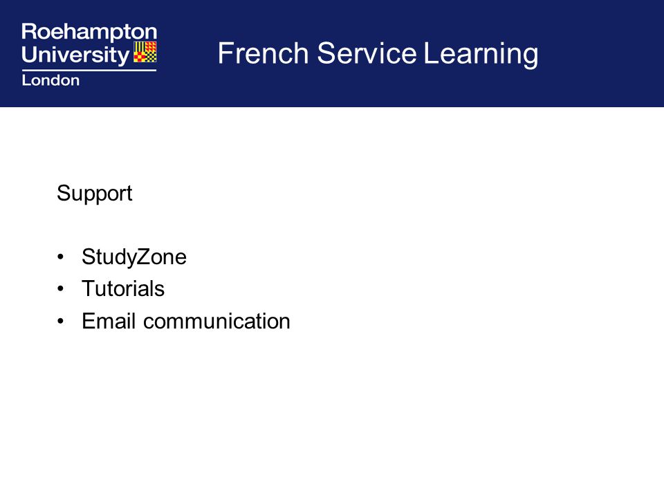French Service Learning Support StudyZone Tutorials Email communication