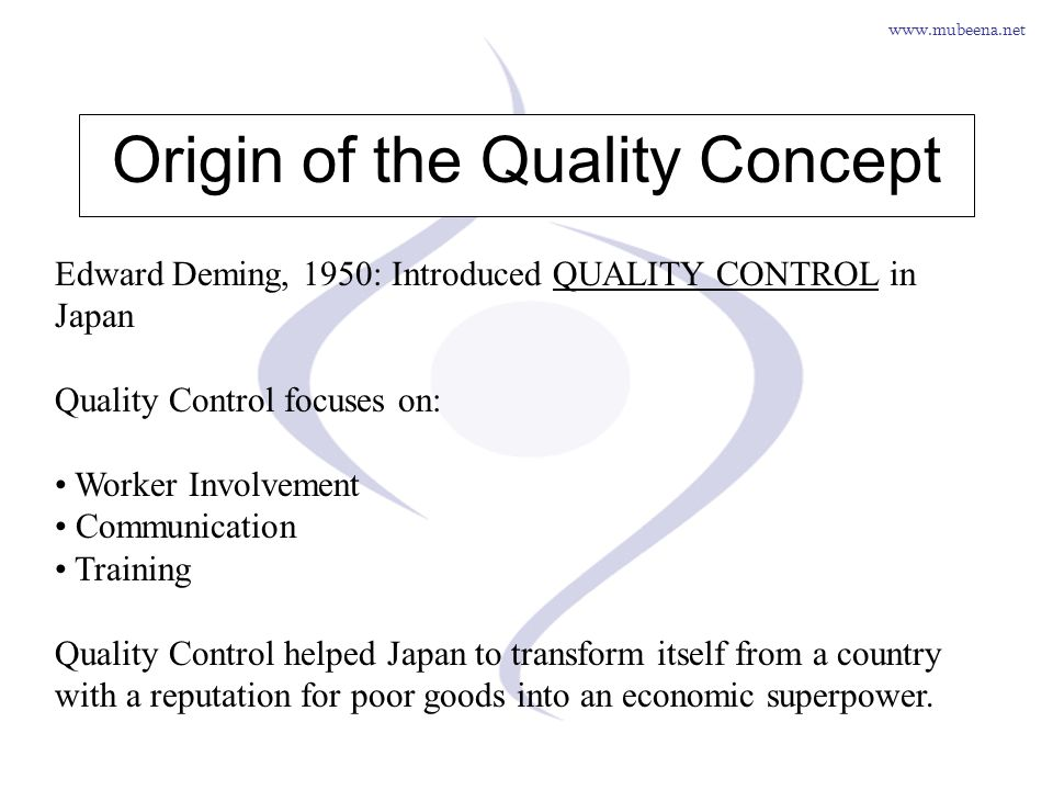 www.mubeena.net Origin of the Quality Concept Edward Deming, 1950: Introduced QUALITY CONTROL in Japan Quality Control focuses on: Worker Involvement