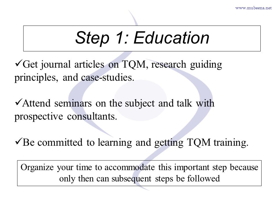 www.mubeena.net Step 1: Education Get journal articles on TQM, research guiding principles, and case-studies. Attend seminars on the subject and talk