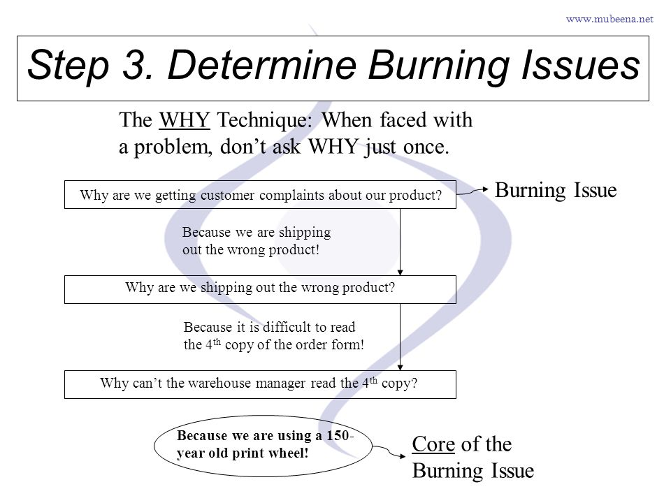 www.mubeena.net Step 3. Determine Burning Issues The WHY Technique: When faced with a problem, dont ask WHY just once. Why are we getting customer com