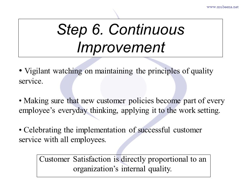www.mubeena.net Step 6. Continuous Improvement Vigilant watching on maintaining the principles of quality service. Making sure that new customer polic