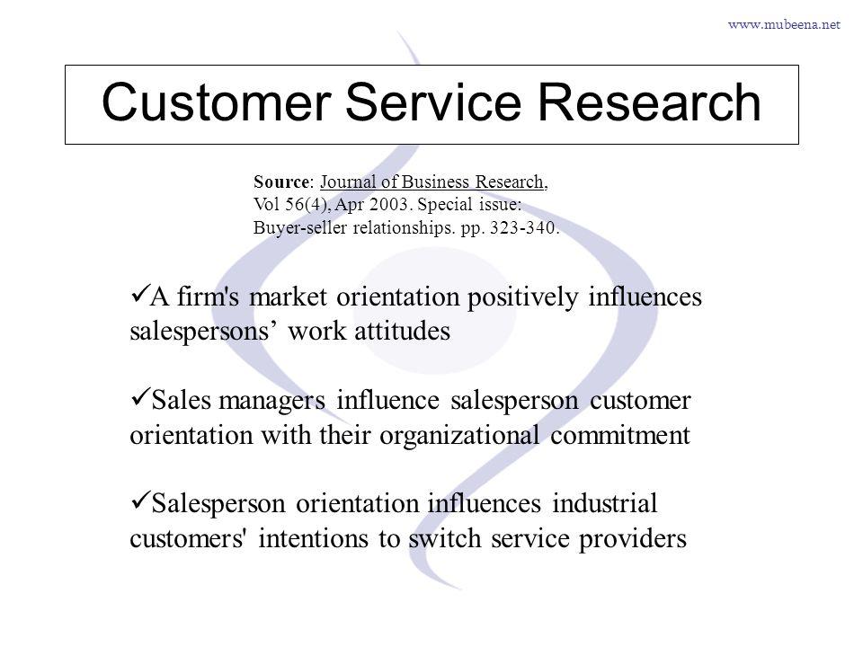 www.mubeena.net A firm's market orientation positively influences salespersons work attitudes Sales managers influence salesperson customer orientatio