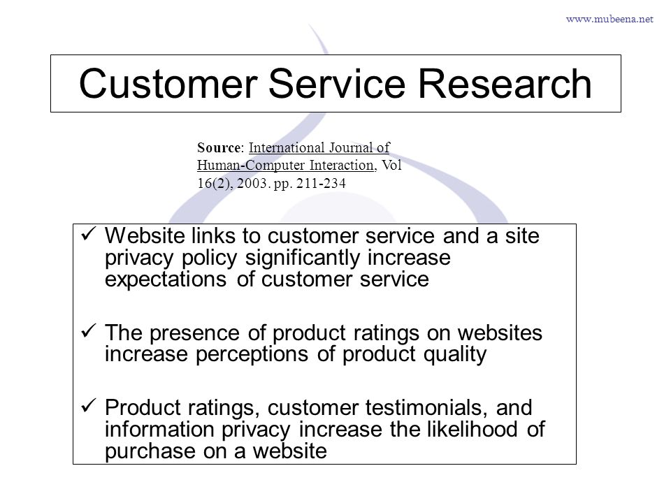 www.mubeena.net Customer Service Research Website links to customer service and a site privacy policy significantly increase expectations of customer