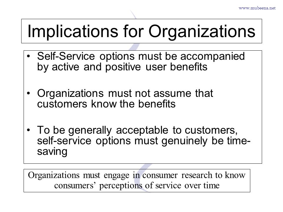 www.mubeena.net Implications for Organizations Self-Service options must be accompanied by active and positive user benefits Organizations must not as