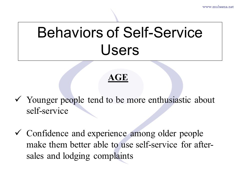 www.mubeena.net Behaviors of Self-Service Users AGE Younger people tend to be more enthusiastic about self-service Confidence and experience among old