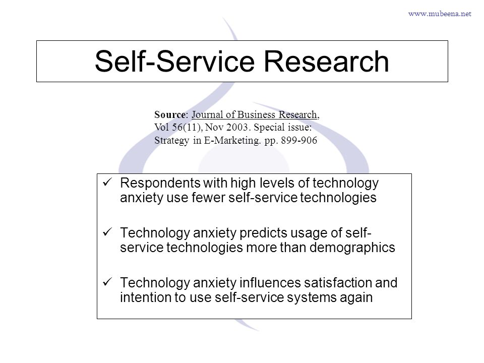 www.mubeena.net Self-Service Research Respondents with high levels of technology anxiety use fewer self-service technologies Technology anxiety predic
