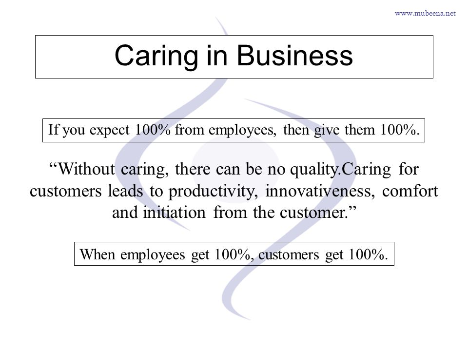 www.mubeena.net Caring in Business If you expect 100% from employees, then give them 100%. Without caring, there can be no quality.Caring for customer