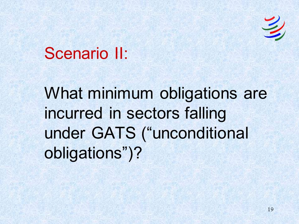 18 Scenario I: Status of Governmental Services Excluded from coverage are services provided in the exercise of governmental authority which, in turn,