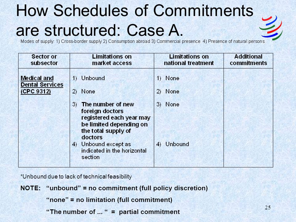 24 Schedules of Specific Commitments: General Structure