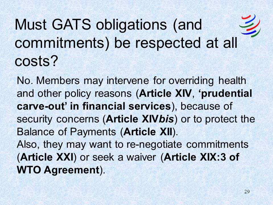 28 Application of GATS obligations across the services economy