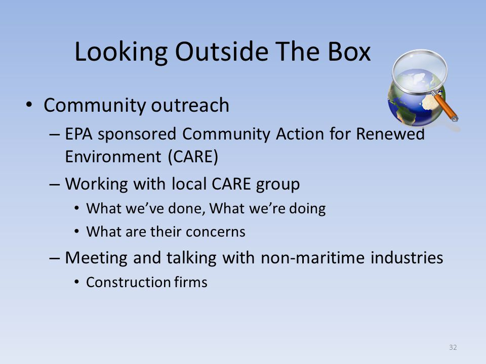 Looking Outside The Box Community outreach – EPA sponsored Community Action for Renewed Environment (CARE) – Working with local CARE group What weve d