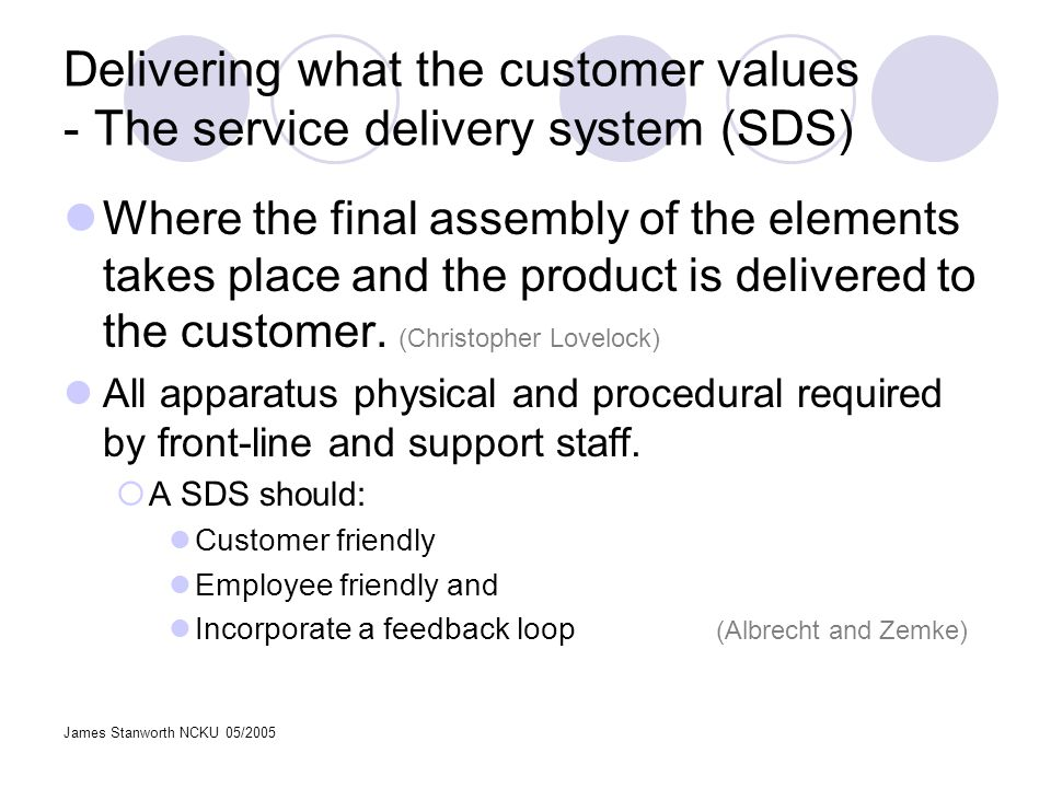 James Stanworth NCKU 05/2005 Delivering what the customer values - The service delivery system (SDS) Where the final assembly of the elements takes pl