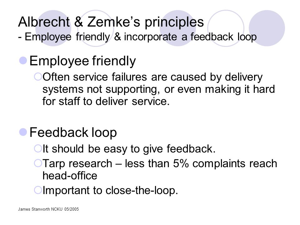 James Stanworth NCKU 05/2005 Albrecht & Zemkes principles - Employee friendly & incorporate a feedback loop Employee friendly Often service failures a