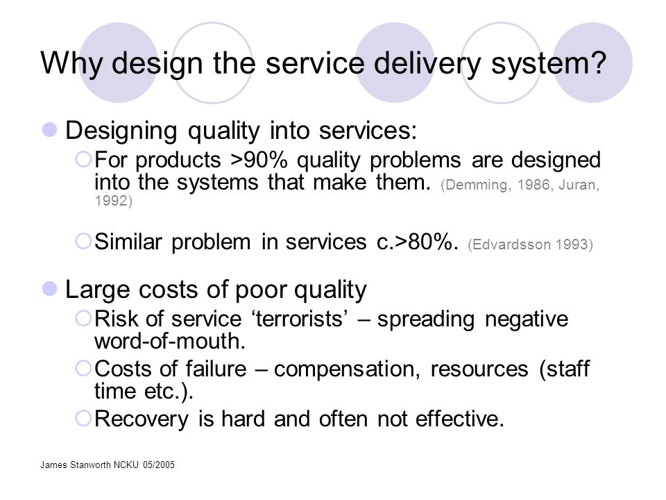 James Stanworth NCKU 05/2005 Methods of service design High quality services do not happen by accident.