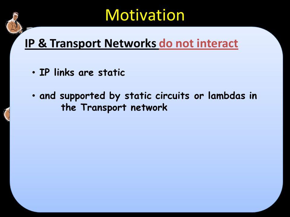 D D C D D C D D C D D C IP/MPLS C D D C D D C D D D D D D D D D D CC D D D D GMPLS Motivation IP links are static and supported by static circuits or lambdas in the Transport network IP & Transport Networks do not interact