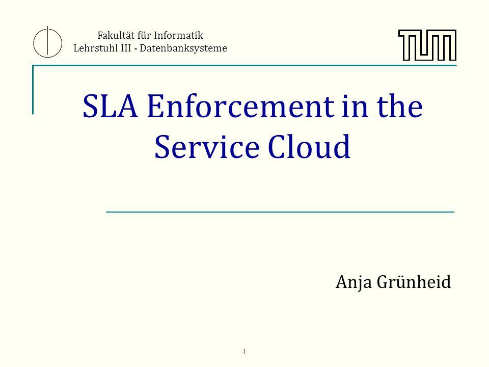 1 SLA Enforcement in the Service Cloud Anja Grünheid Fakultät für Informatik Lehrstuhl III - Datenbanksysteme