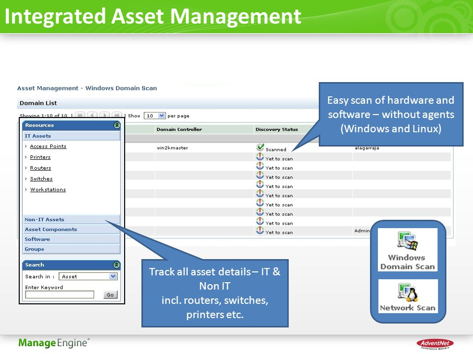 Integrated Asset Management Easy scan of hardware and software – without agents (Windows and Linux) Track all asset details – IT & Non IT incl. router