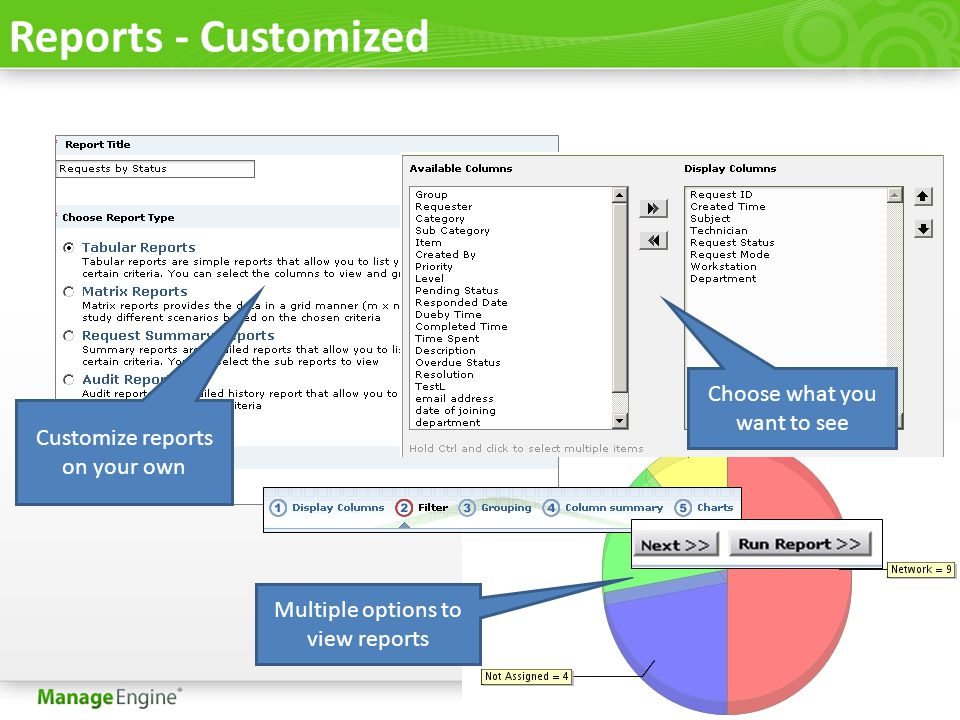 Reports - Customized Customize reports on your own Choose what you want to see Multiple options to view reports