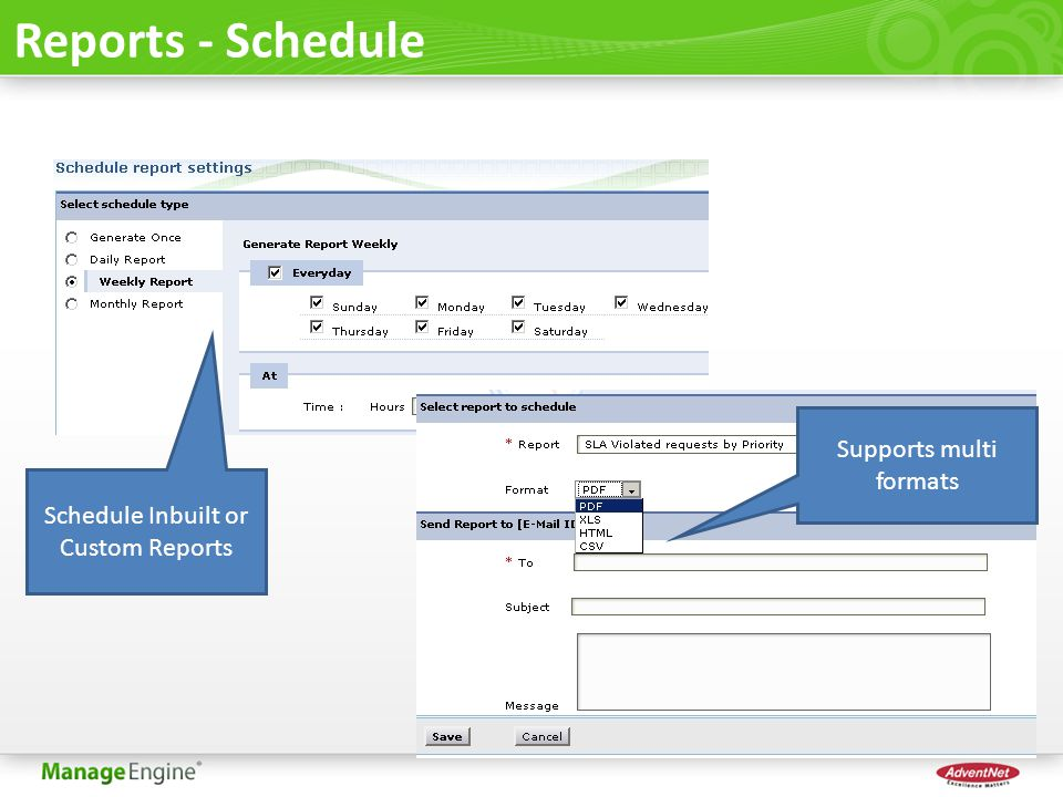 Reports - Schedule Schedule Inbuilt or Custom Reports Supports multi formats