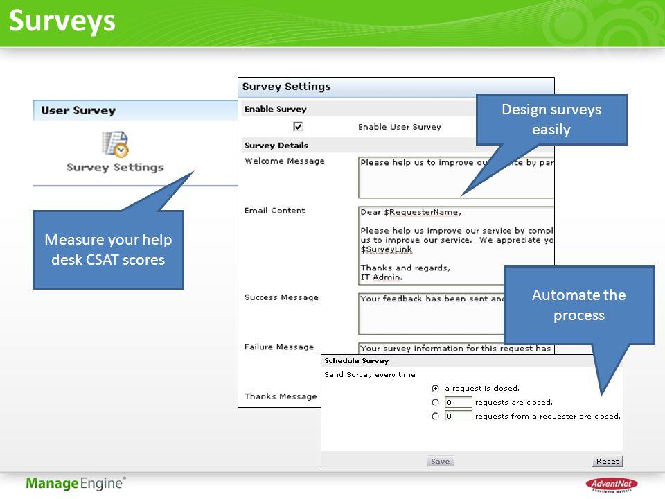 Surveys Measure your help desk CSAT scores Design surveys easily Automate the process