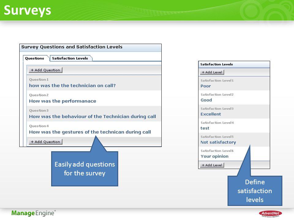 Surveys Easily add questions for the survey Define satisfaction levels