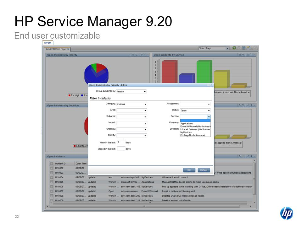 22 End user customizable HP Service Manager 9.20