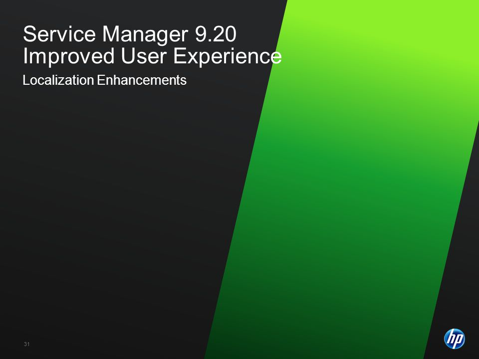 ©2009 HP Confidential31 Service Manager 9.20 Improved User Experience Localization Enhancements