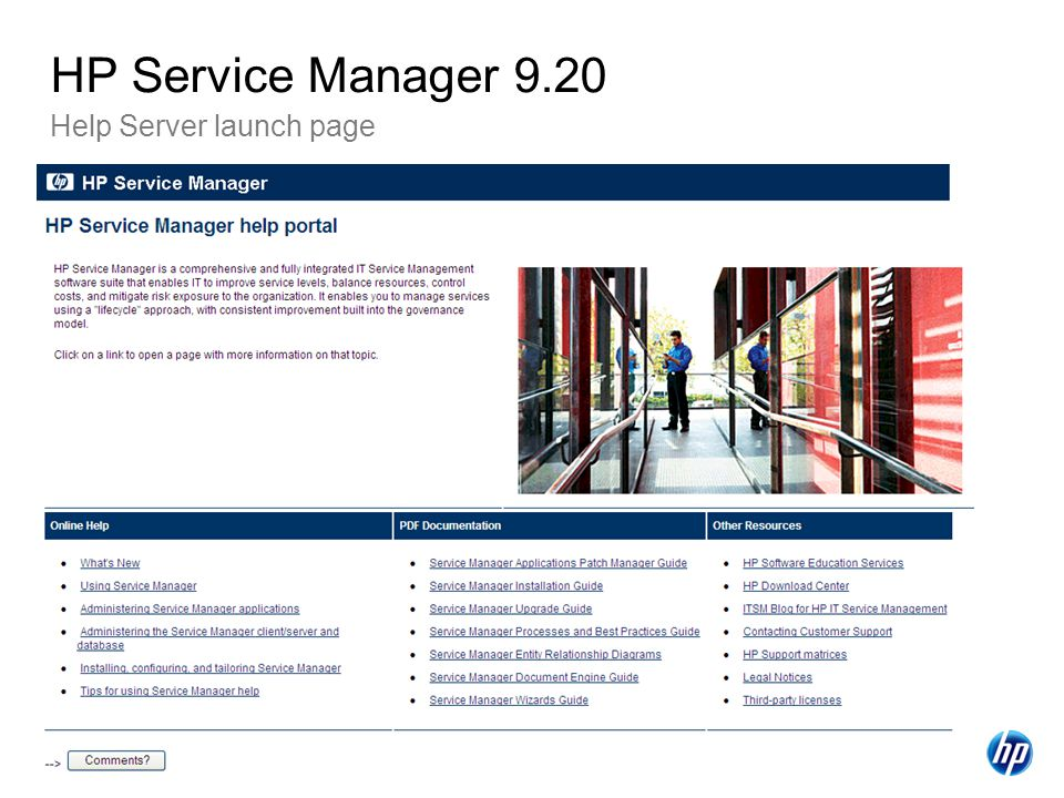 38 Help Server launch page HP Service Manager 9.20