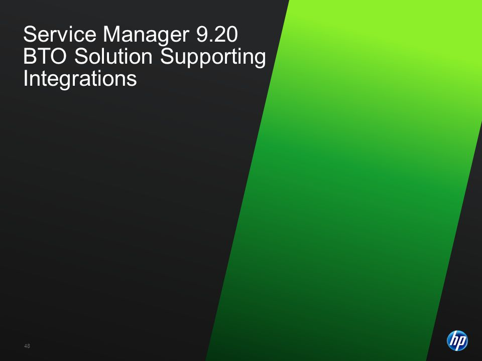 ©2009 HP Confidential48 Service Manager 9.20 BTO Solution Supporting Integrations