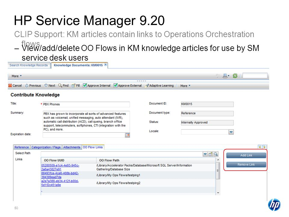 50 CLIP Support: KM articles contain links to Operations Orchestration flows HP Service Manager 9.20 –View/add/delete OO Flows in KM knowledge articles for use by SM service desk users