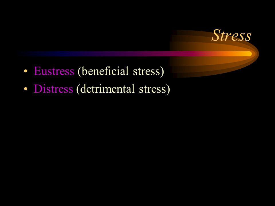 Stress Eustress (beneficial stress) Distress (detrimental stress)