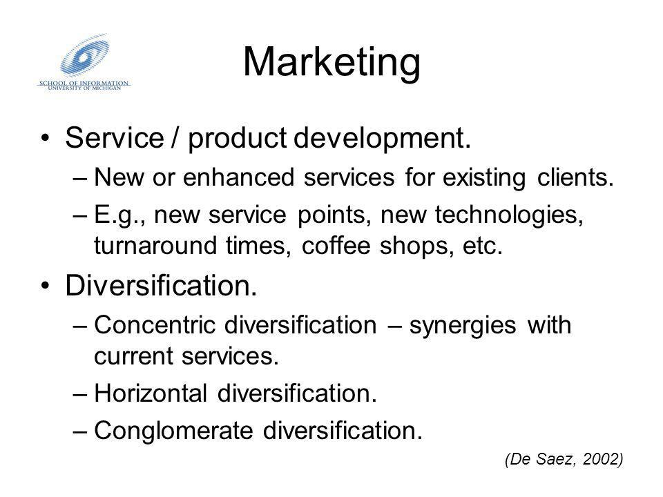 Marketing Service / product development. –New or enhanced services for existing clients.