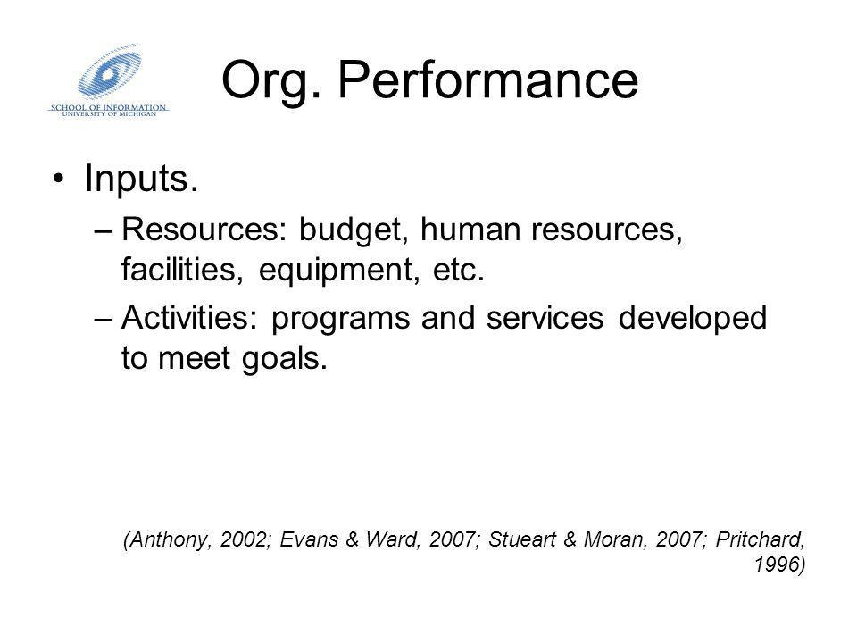 Org. Performance Inputs. –Resources: budget, human resources, facilities, equipment, etc.