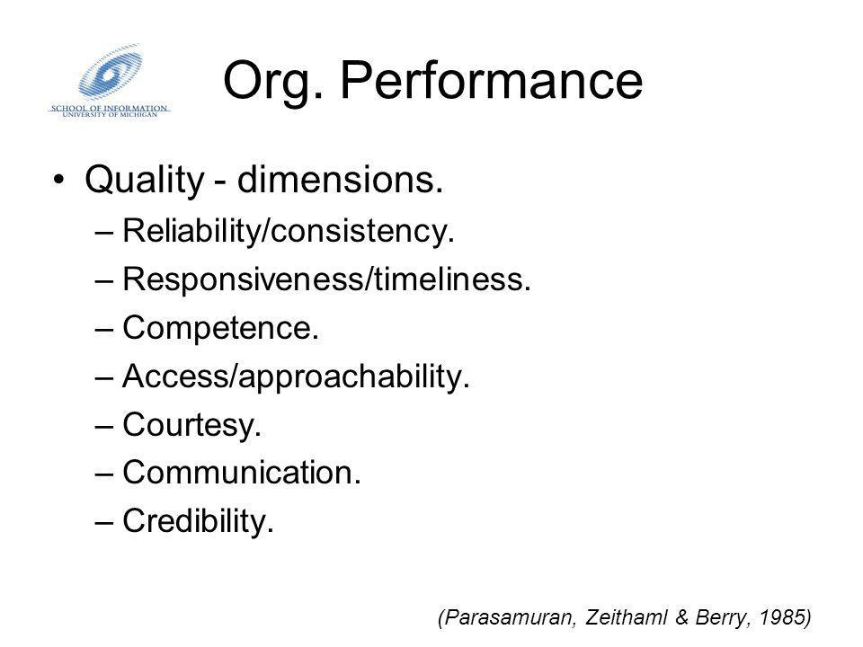 Org. Performance Quality - dimensions. –Reliability/consistency.