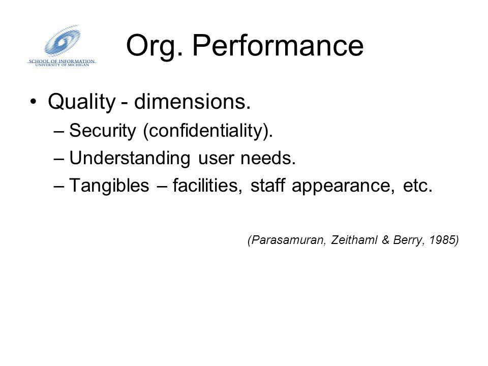 Org. Performance Quality - dimensions. –Security (confidentiality).