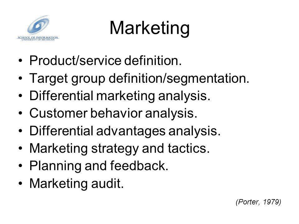 Marketing Current Services / Products New Services / Products Current Markets Market Penetration Service / Product Development New MarketsMarket Development Diversification Product/Market Development Strategy Matrix (De Saez, 2002)
