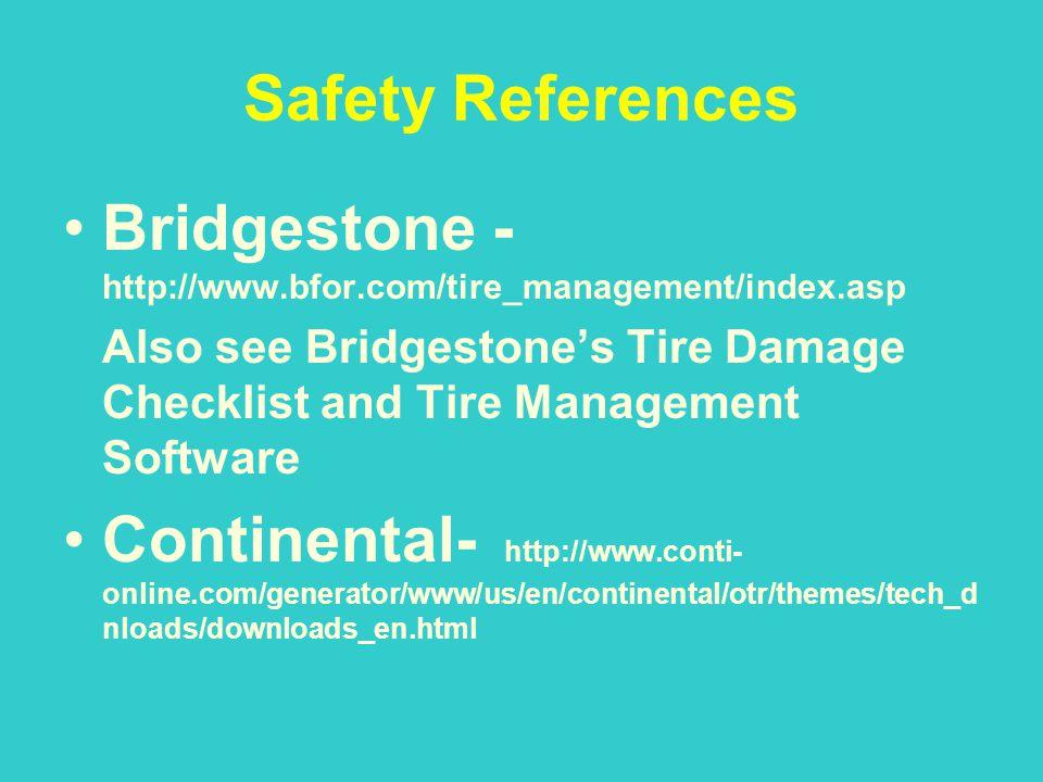 Safety References Bridgestone - http://www.bfor.com/tire_management/index.asp Also see Bridgestones Tire Damage Checklist and Tire Management Software