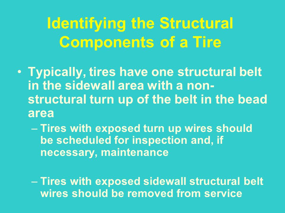 Identifying the Structural Components of a Tire Typically, tires have one structural belt in the sidewall area with a non- structural turn up of the b