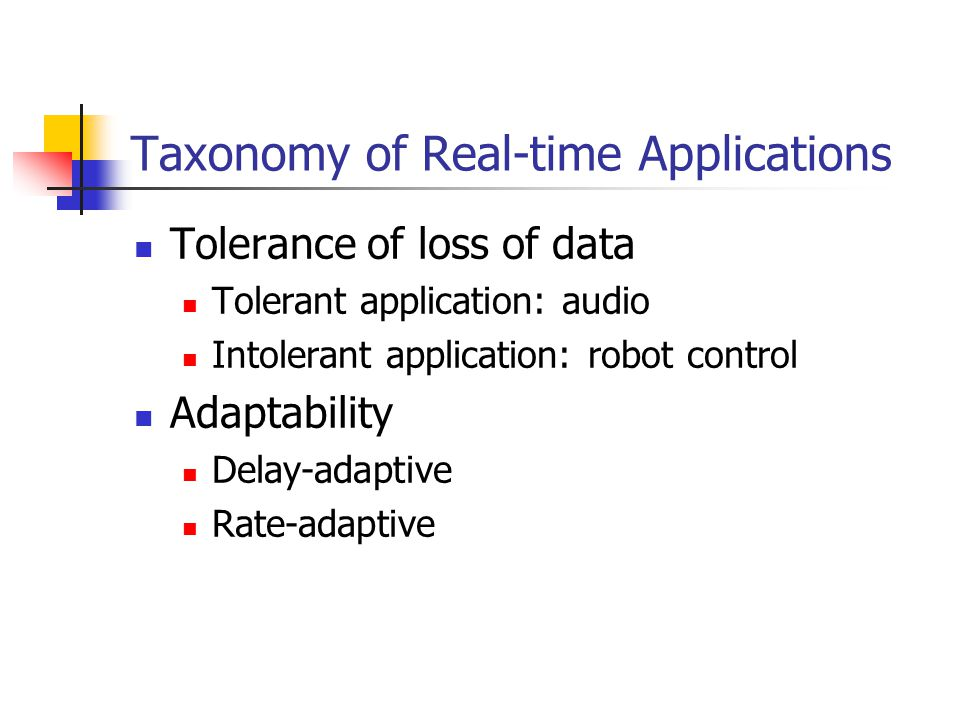 Taxonomy of Real-time Applications Tolerance of loss of data Tolerant application: audio Intolerant application: robot control Adaptability Delay-adap